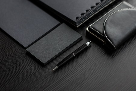 hand business card: Set of black mockups on dark background