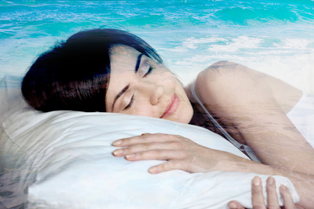double exposure  sleeping girl and the sea
