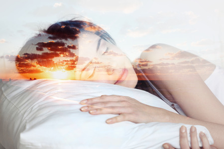 double exposure  sleeping girl and the sea