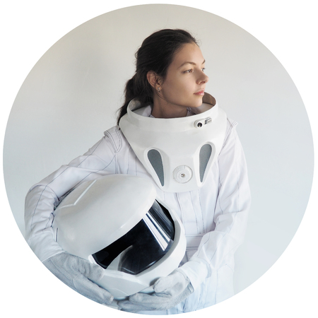futuristic astronaut without  helmet, the white background Stockfoto
