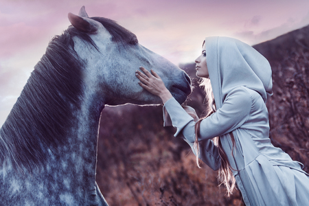 freedom woman: Portrait of a beauty blondie with horse