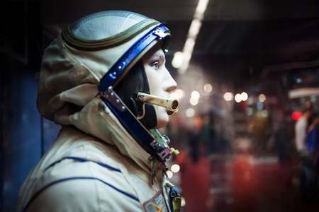 hermetic: MOSCOW, RUSSIA - SEPTEMBER 6, 2015: Soviet cosmonaut dummy in the suit,  Museum of the cosmonautics
