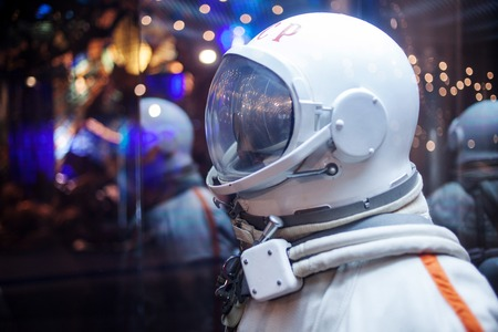 discoverer: MOSCOW, RUSSIA - SEPTEMBER 6, 2015: Soviet cosmonaut dummy in the suit,  Museum of the cosmonautics