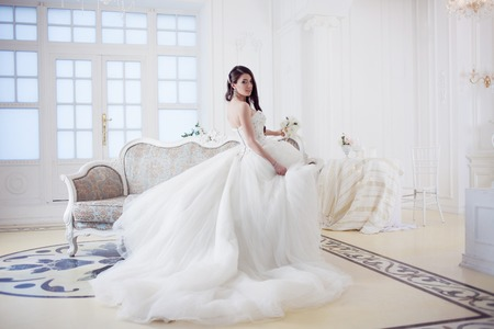 Portrait of beautiful bride. Wedding dress with open back. Wedding decoration Stok Fotoğraf