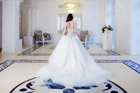 gown: Portrait of beautiful bride. Wedding dress with open back. Wedding decoration Stock Photo
