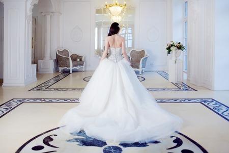 Portrait of beautiful bride. Wedding dress with open back. Wedding decoration Foto de archivo