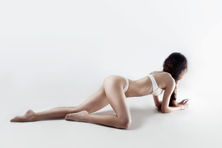Young and beautiful woman in sexy underwear Stock Photo