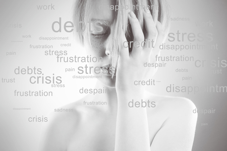 women's issues: Stressed woman. Conceptual image,  portrait of  girl, around her a lot of problems, words around the head