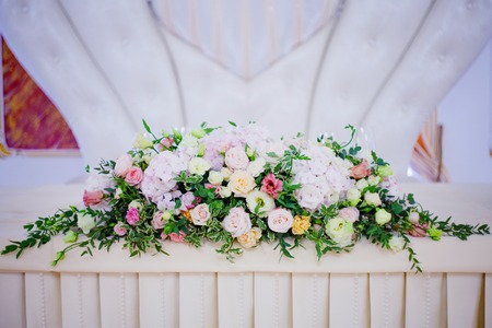 bureau: Serving wedding table flowers. Bureau for newlyweds