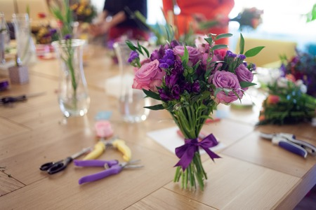 bouquet on the table in a floral Studio