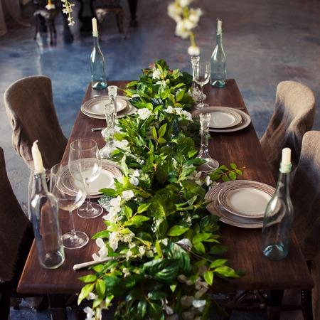 natural materials: Tableware, eco-friendly style, wood and natural materials