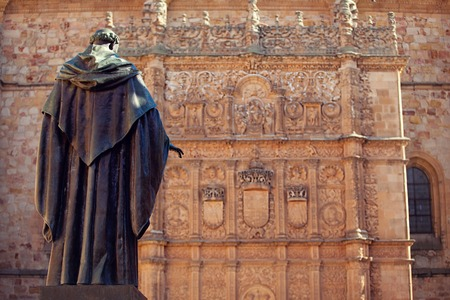 View on the statue and Salamanca cathedral.