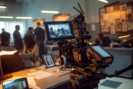 SAINT PETERSBURG, RUSSIA - AUGUST 20, 2016: Film Crew On Location. 4K Camera & Cinematographer. Filmmaking. Set, scenery police station