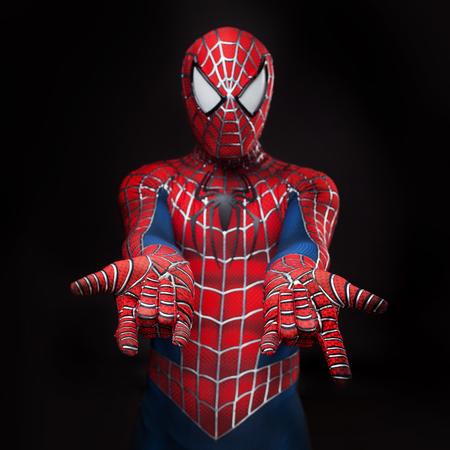 SEINT-PETERSBURG, RUSLAND - MEI 21, 2016: Cosplayer kleedde zich als Spiderman. Close-up, handen. Schiet spinnenweb. Comic Con in Rusland
