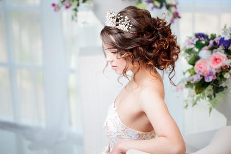 Portrait of beautiful bride in wedding dress Stock Photo