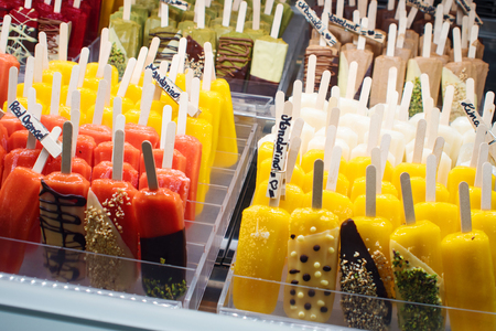 VENICE, ITALY - OCTOBER 6 , 2017: Popsicle ice pop in the shop window, assortment