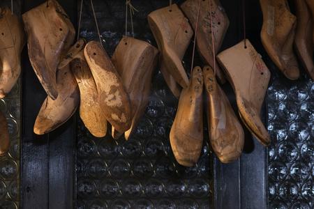 Old vintage wooden shoe form or mold for making shoes.
