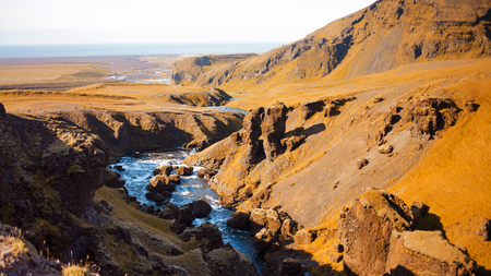 Iceland, mountain river, beautiful scenery