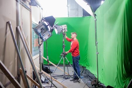 filmmaker: SAINT PETERSBURG, RUSSIA - JULY 22, 2017: Chromakey, sets with a green screen.