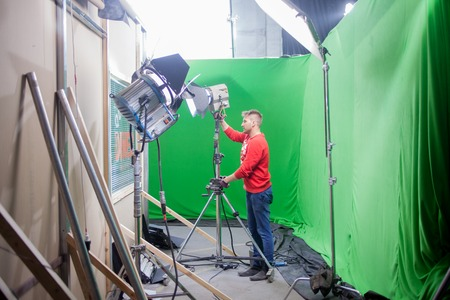 SAINT PETERSBURG, RUSSIA - JULY 22, 2017: Chromakey, sets with a green screen.