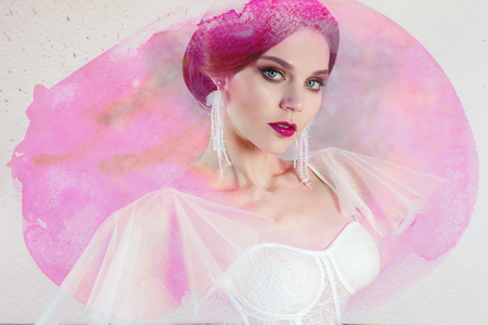 Beautiful and stylish bride in wedding dress, portrait in watercolor stylization, pink tinting