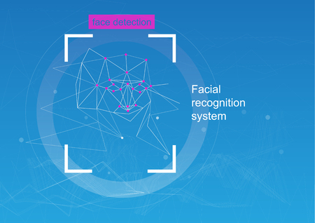 Face recognition, concept. concept of recognition. diagram of the grid and neural network algorithm. Blue background