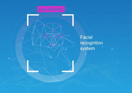 Reconnaissance faciale, concept. concept de reconnaissance. diagramme de l'algorithme de grille et de réseau neuronal. Fond bleu Vecteurs