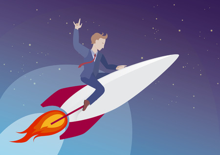Cool businessman flying into space on a rocket. Concept, vector illustration. Startup and technology startup