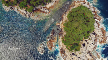 Beautiful view of the Peninsula and a small rocky island. Seaside landscape with coniferous forest. drone photo