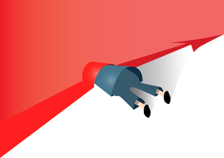 businessman fell and was crushed by the graph line.Financial indicators have fallen