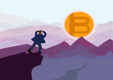 fall of bitcoin, the concept of the decline of the bitcoin era. The man on the edge of the cliff looks at the symbol of cryptocurrency