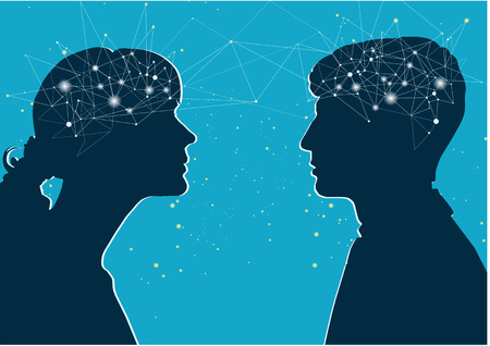 Interaction of genders. Male and female profile, the concept of communication. Male and female brain, connection of thoughts, dialogue Illustration