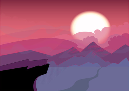 Simple Landscape with sunset. The sun sets over the horizon, the cliff in the foreground. Crimson tones