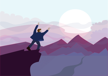 man on top of the mountain looking at the panorama. Landscape with sunset. man stands with his arms outstretched