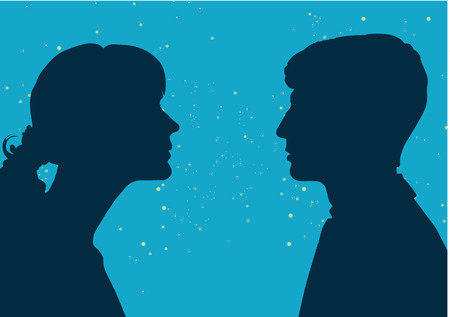 Interaction of genders. Male and female profile, the concept of communication. Male and female , connection of thoughts, dialogue Illustration
