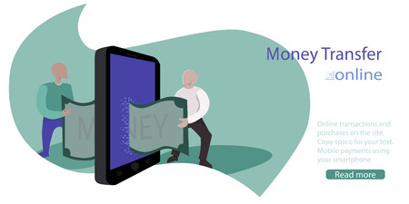 money transfer online. concept illustration. Two people pass each other a bill using smartphone. E-commerce mobile application