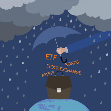 Asset insurance. Insurance for the investor when working on the exchange. Concept, umbrella covers the investment portfolio from thunderstorms and rain Illustration