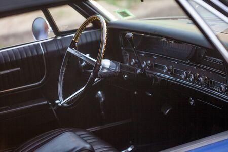 SAINT PETERSBURG, RUSSIA - OCTOBER 31, 2018: Retro car in the Parking lot. Pontiac Bonneville Interior retro car. Leather interior