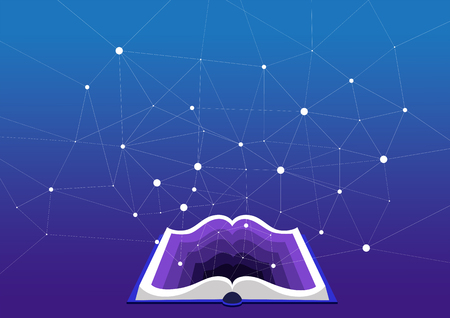concept of education and training. Open book on a blue background. Multidimensional graph and deep learning