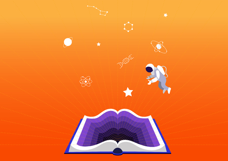 concept of education and training. Open book on orange background. Science fiction or educational books