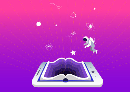 e-learning concept, education and training. smartphone or tablet as a book. Mobile applications for reading and learning. Symbols of science and knowledge, astronaut