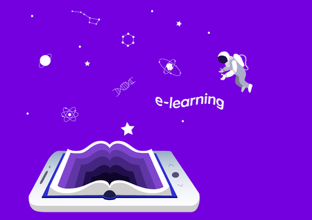 e-learning concept, education and training. smartphone or tablet as a book. Mobile applications for reading and learning. science and knowledge,