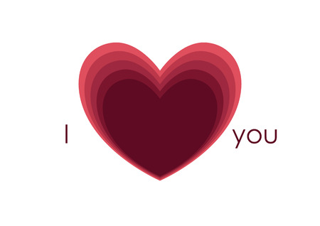 I love you, concept. Heart symbol. Valentines day, paper cut style. White background