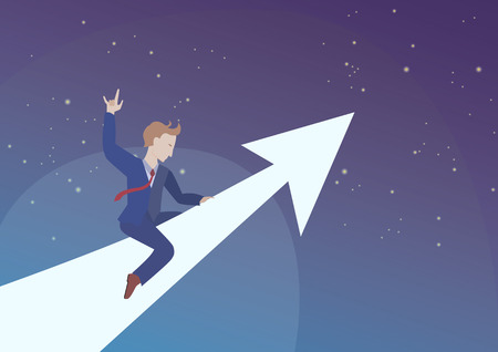 Successful businessman or startup is flying into space on top of an arrow. Conversion rates are higher than expected ,concept 스톡 콘텐츠 - 113689107