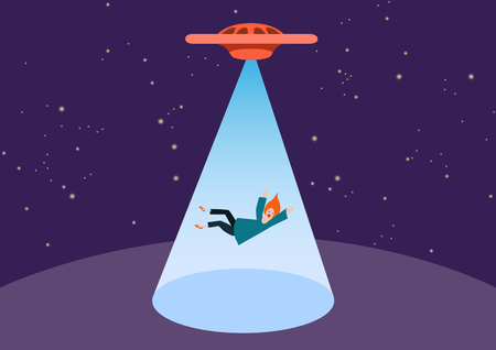 UFO and teleport beam. UFO kidnaps a person, vector. The woman was stolen by aliens. Free space for text in the cone of light