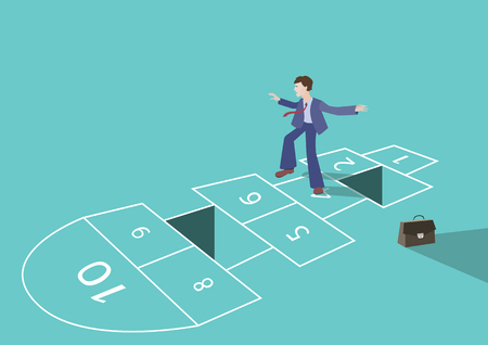 Hopscotch concept of a business process. A businessman or a startup is playing a risky game, to manage a complex process