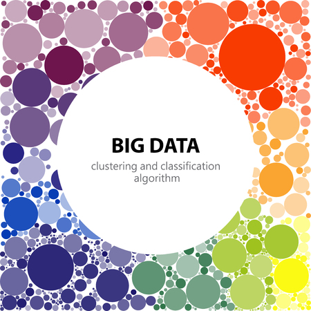 Big data visualization. Visual representation of recognition, classification and clustering algorithms, place text in the center