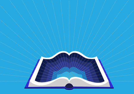 concept of education and training. Open book on a blue background. Open book tutorial with in-depth knowledge.