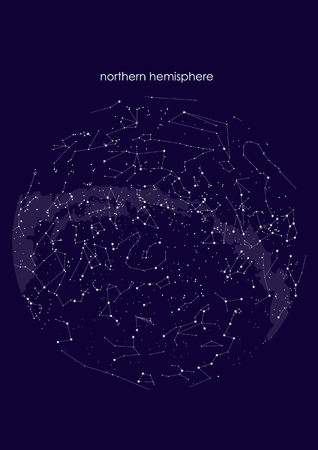 true constellations of the Northern hemisphere., star map. Science astronomy, star chart on blue background Vectores