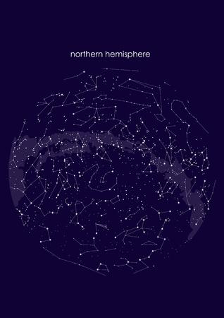 verdaderas constelaciones del hemisferio norte., mapa estelar. Astronomía de la ciencia, carta estelar sobre fondo azul